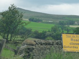 The route near Skipton, warning the road will be closed on the day.